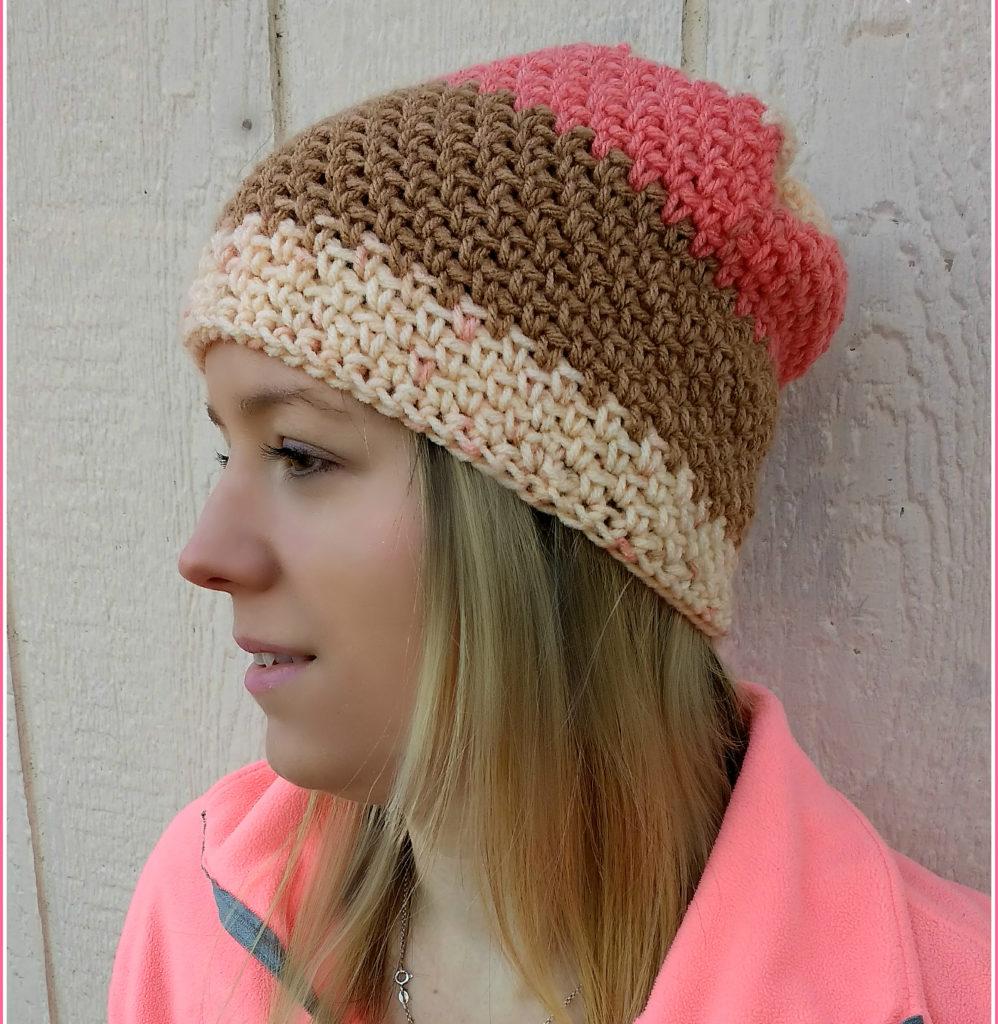 sunrise slouch crochet beanie pattern