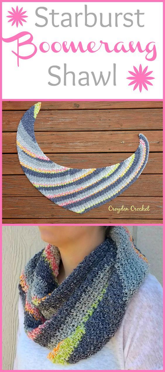 starburst boomerang shawl crochet pattern