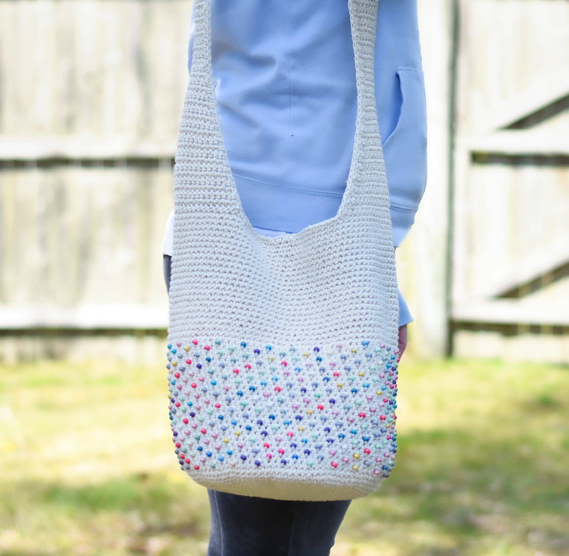 beaded crochet hobo bag