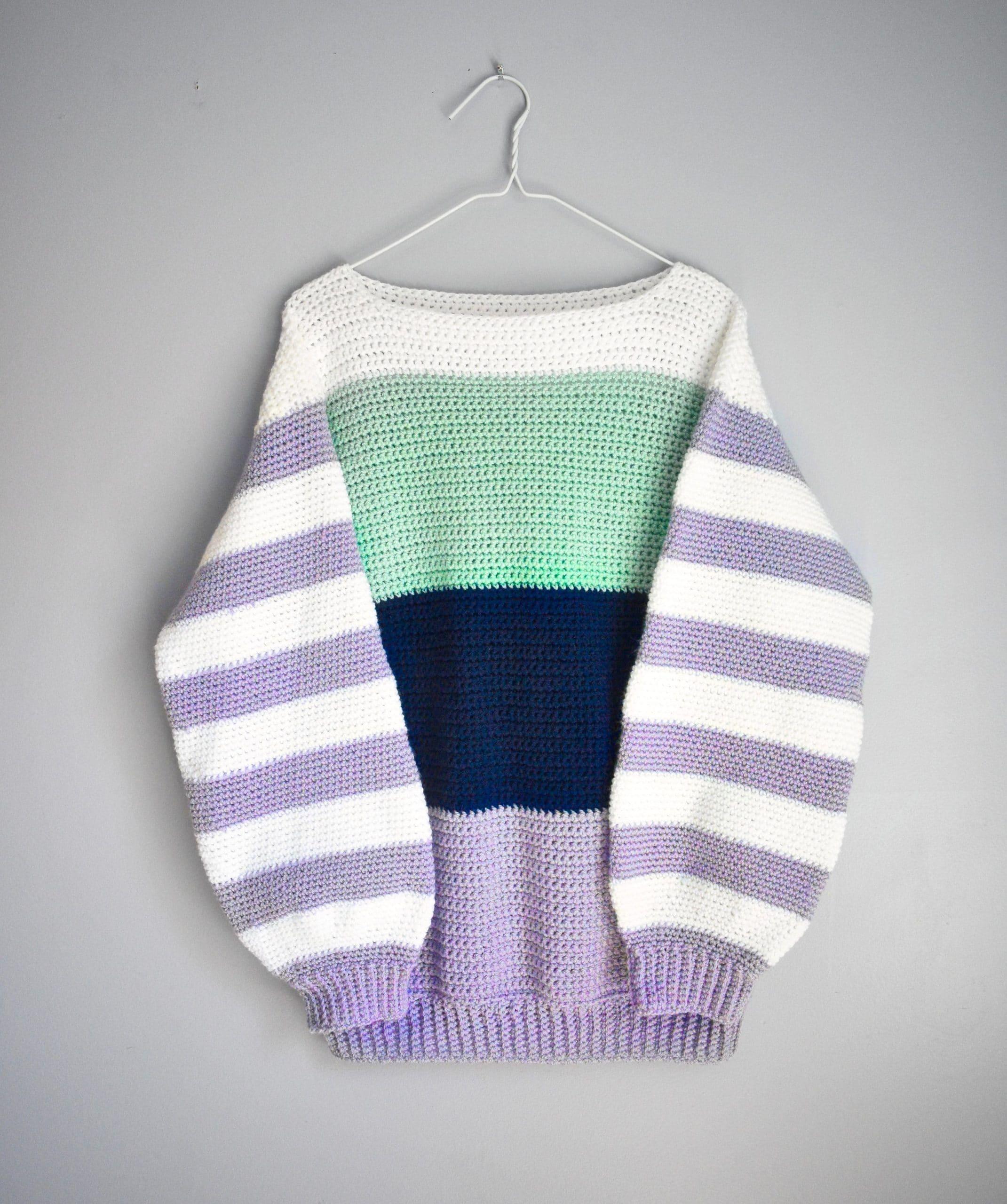 comfy colorblock crochet sweater