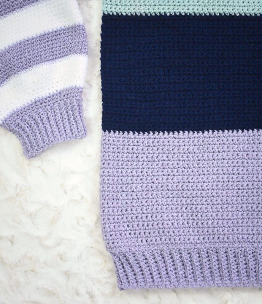 colorblock crochet sweater