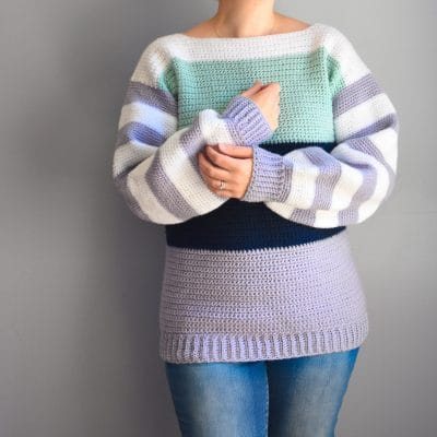 comfy colorblock sweater crochet