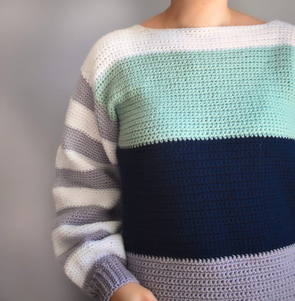 comfy crochet colorblock sweater